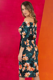 model wears Alpa Print off the shoulder pencil sheath Dress with long sleeves back image