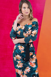 model wears Alpa Print off the shoulder pencil sheath Dress with long sleeves front image close up