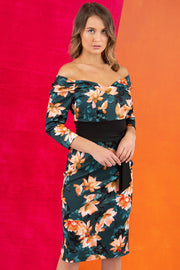 model wears Alpa Print off the shoulder pencil sheath Dress with long sleeves front image studio shot