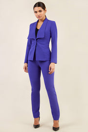 brunette model wearing diva catwalk straight ankle length trousers in spectrum indigo with fulica jacket in spectrum indigo front