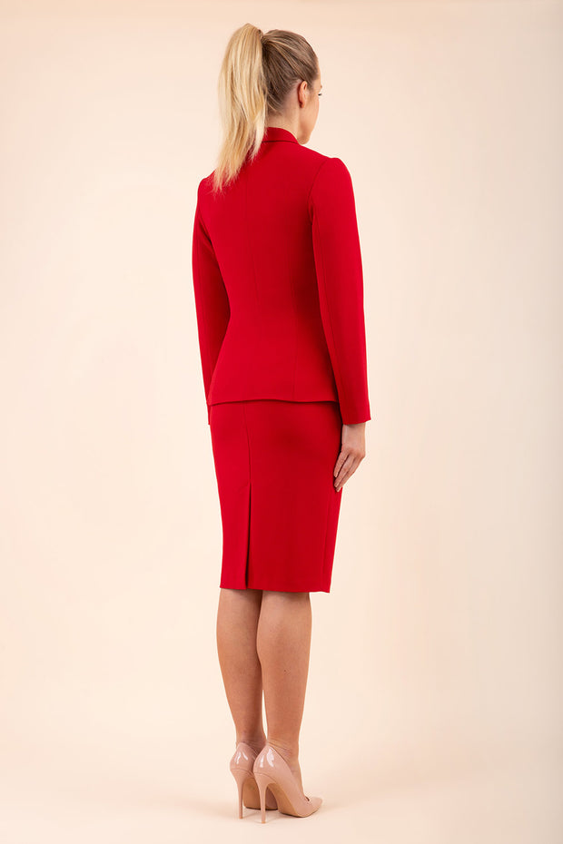 Blonde model wearing Diva Catwalk Fulica Long Sleeve One Button Oversized Collar Jacket in Red back