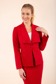 Blonde model wearing Diva Catwalk Fulica Long Sleeve One Button Oversized Collar Jacket in Red front