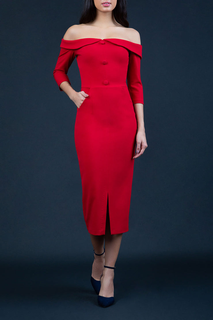 brunette model wearing Diva Catwalk Zorita off-shoulder Sleeved Midi Length Pencil Dress with buttons on front bodice and pockets on side in Red front