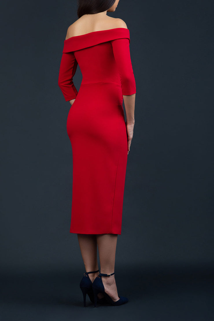 brunette model wearing Diva Catwalk Zorita off-shoulder Sleeved Midi Length Pencil Dress with buttons on front bodice and pockets on side in Red back