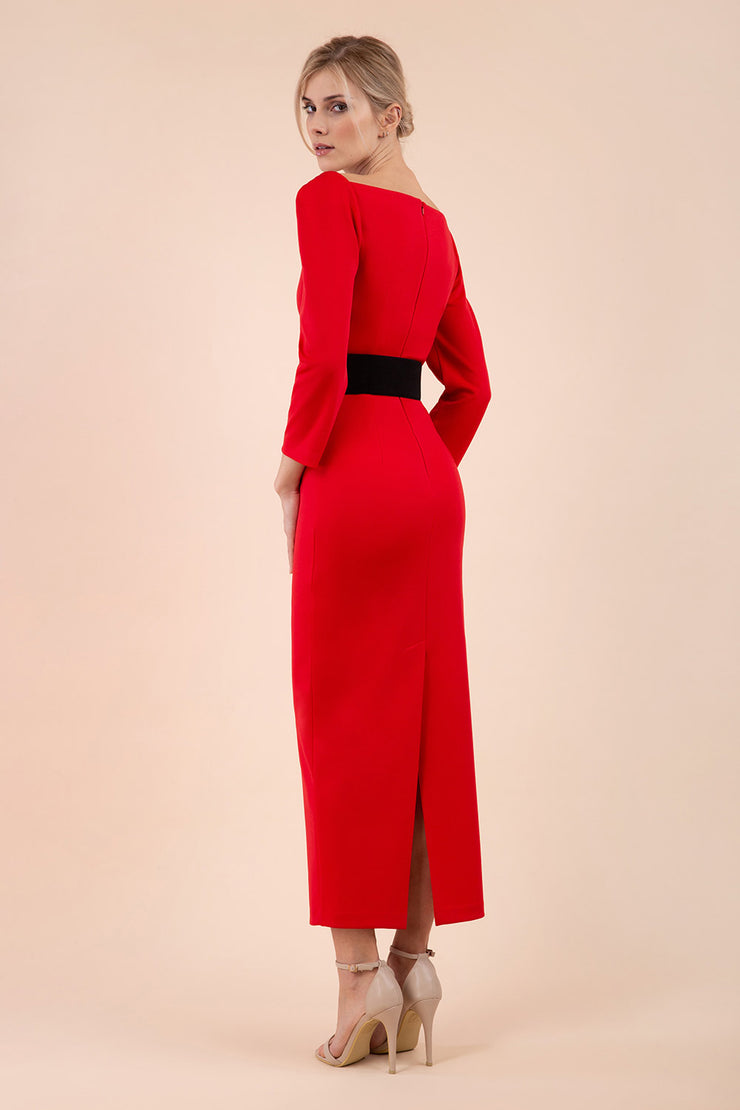 brunette model wearing diva catwalk maxi plain three quarter sleeve dress with pleating on shoulders and square neckline in electric red back