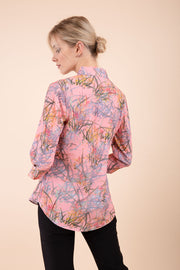 Model wearing the Diva floral top in pink back image