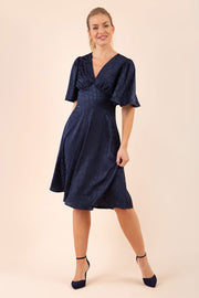 Navy v-neck swing satin short sleeve dress