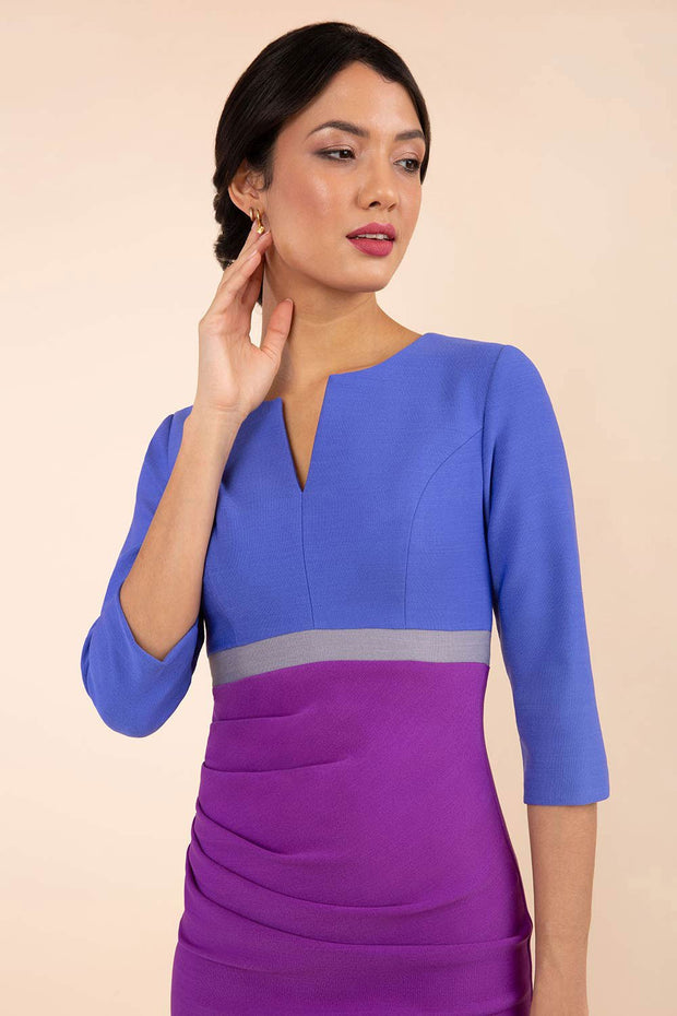 Model wearing the Diva Lara Colour Block dress Couture Stretch  in Amethyst Purple, Thistle Blue , Sky Grey colour front image
