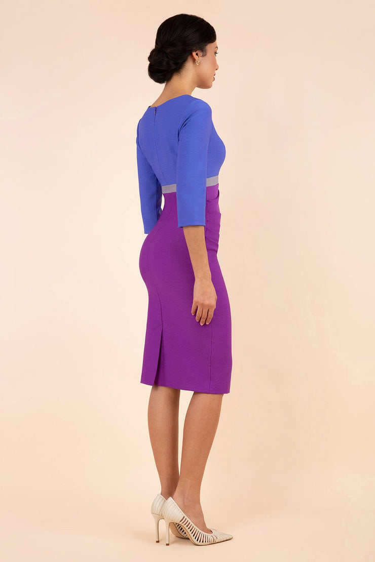 Model wearing the Diva Lara Colour Block pencil dress Couture Stretch seed three quarter sleeve in Amethyst Purple, Thistle Blue , Sky Grey colour back