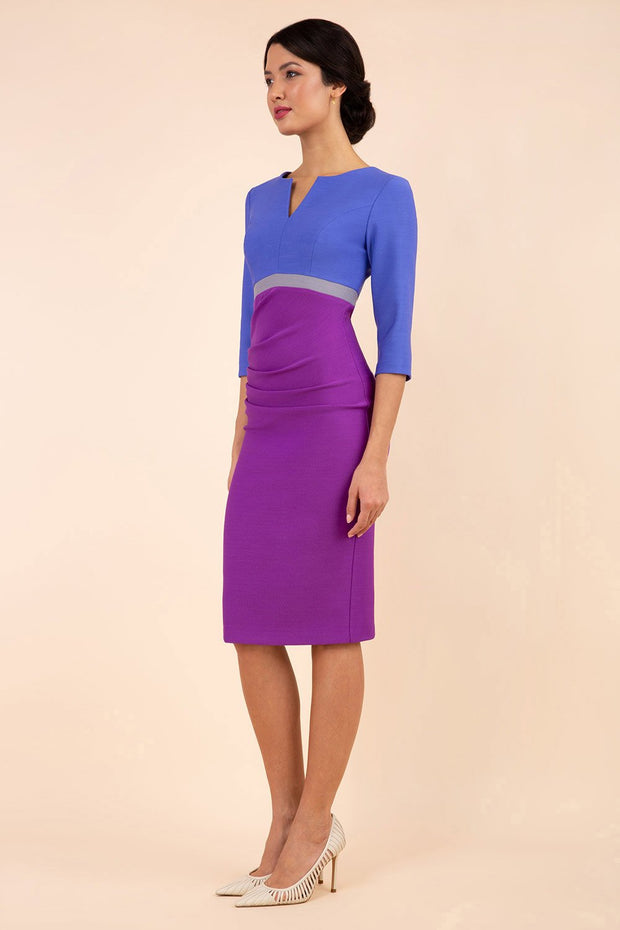 Model wearing the Diva Lara Colour Block pencil dress Couture Stretch seed three quarter sleeve in Amethyst Purple, Thistle Blue , Sky Grey colour front
