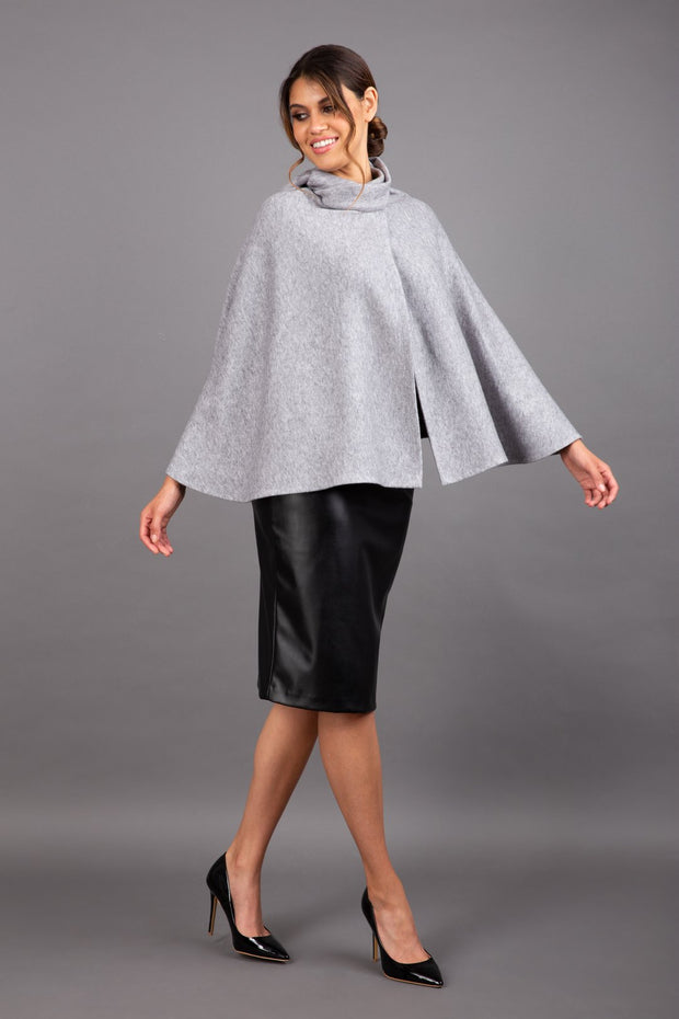 brunette model wearing diva catwalk hampstead cape known as shawl high neck in flint grey front