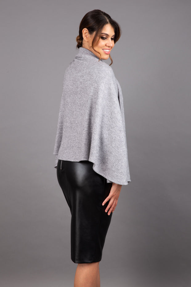 brunette model wearing diva catwalk hampstead cape known as shawl high neck in grey back