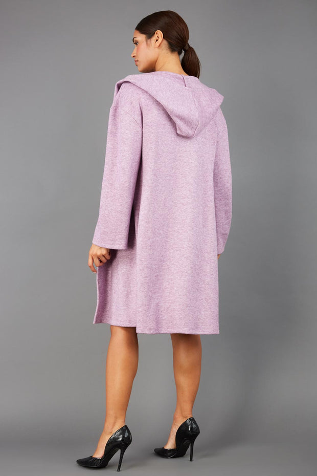 brunette model wearing diva catwalk hooded coat with long sleeves in soft cosy cashmere in pink back