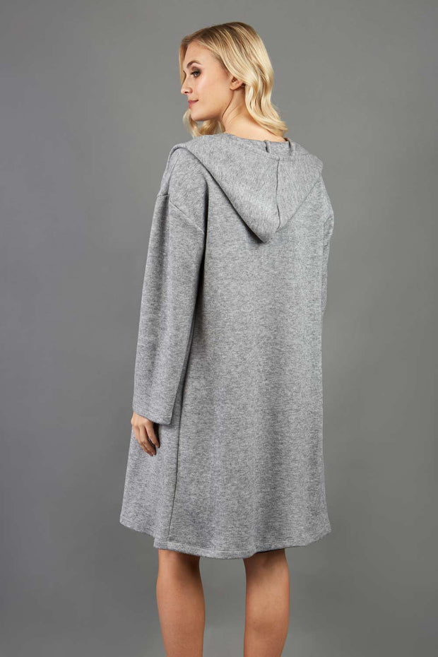 blonde model wearing diva catwalk hooded coat with long sleeves in soft cosy cashmere in grey back