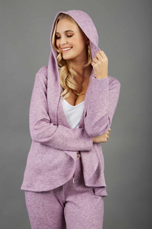 blonde model wearing diva catwalk cashmere hooded jacket with long sleeves and front waterfall closure in lavender mist front