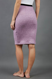 model is wearing diva catwalk elvira pencil pink skirt in soft cashmere fabric back