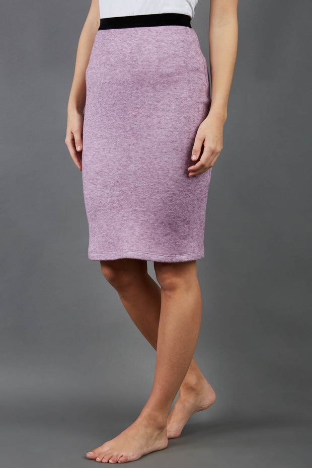 model is wearing diva catwalk elvira pencil pink skirt in soft cashmere fabric front