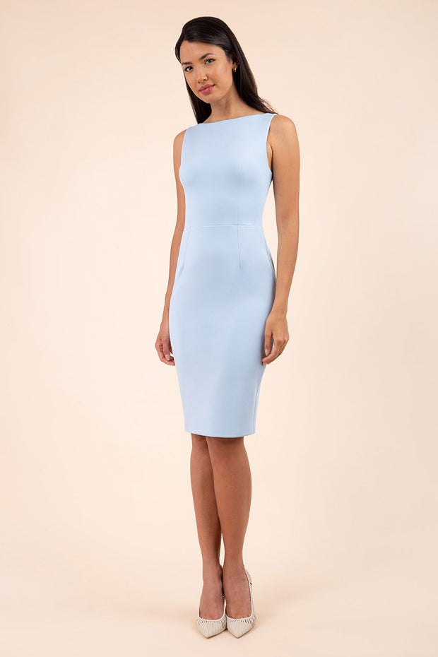 blonde model wearing diva catwalk plain pencil sleeveless dress in dream blue front