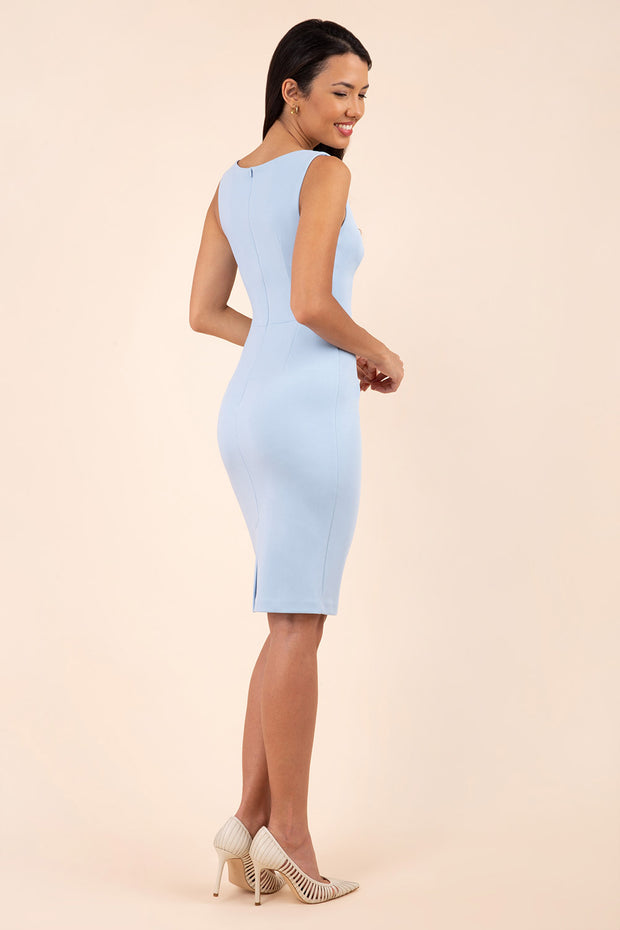 blonde model wearing diva catwalk plain pencil sleeveless dress in dream blue back