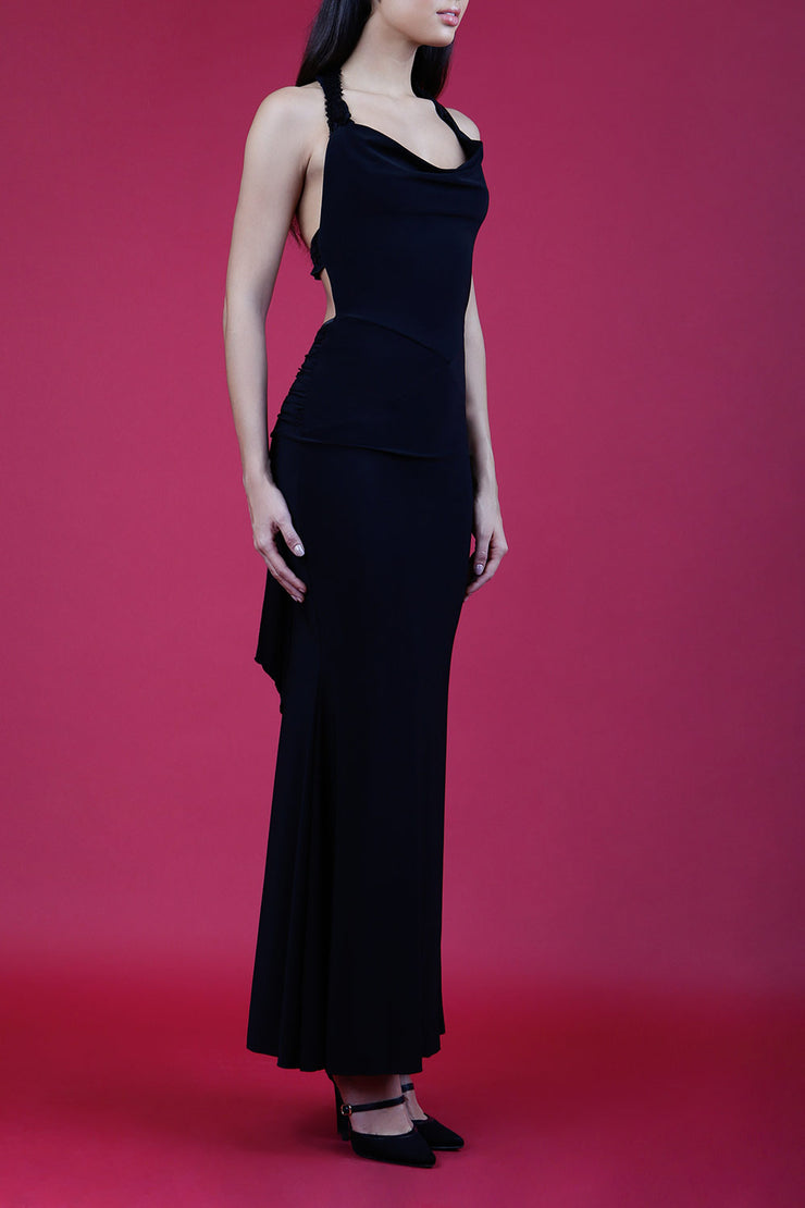 Model wearing Afterdark Full Length Sleeveless Open U-shape Back and Cowl neckline Dress with and Sequined straps over neckline and back in Black front