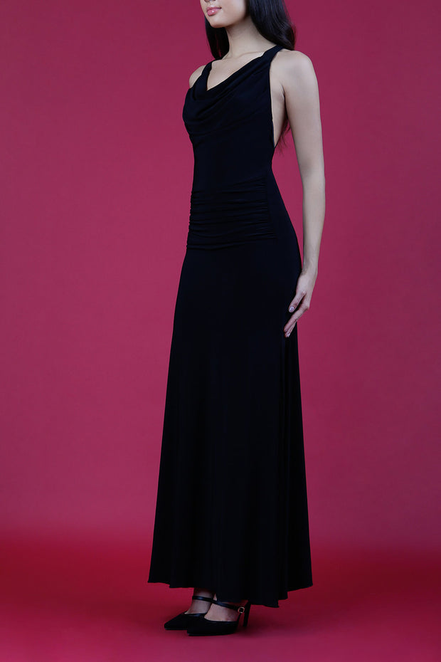 Model wearing Daring Full Length Sleeveless Open U-shape x-cross detailed Back  and Cowl neckline Dress in Black front