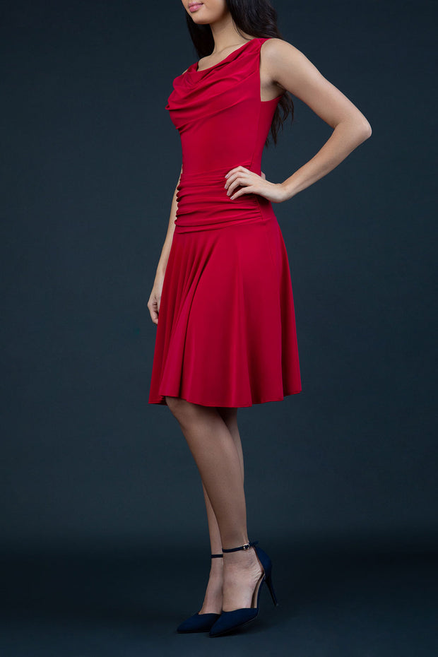 Model Wearing ChaCha Sleeveless Swish Skirt A-Line Mini Dress with pleating across the body in Red front