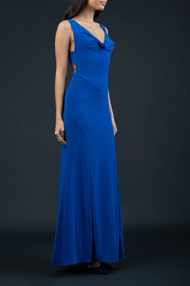Model wearing Hollywood Full Length Sleeveless Open U-shape Back versatile neckline Dress with x-crossed straps at the back in Cobalt Blue front