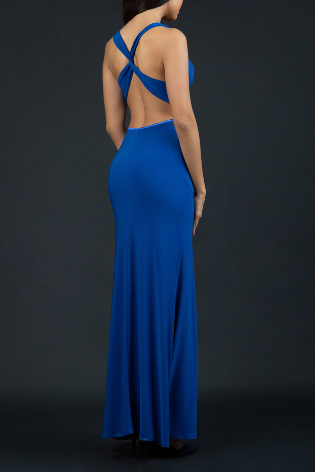 Model wearing Hollywood Full Length Sleeveless Open U-shape Back versatile neckline Dress with x-crossed straps at the back in Cobalt Blue back