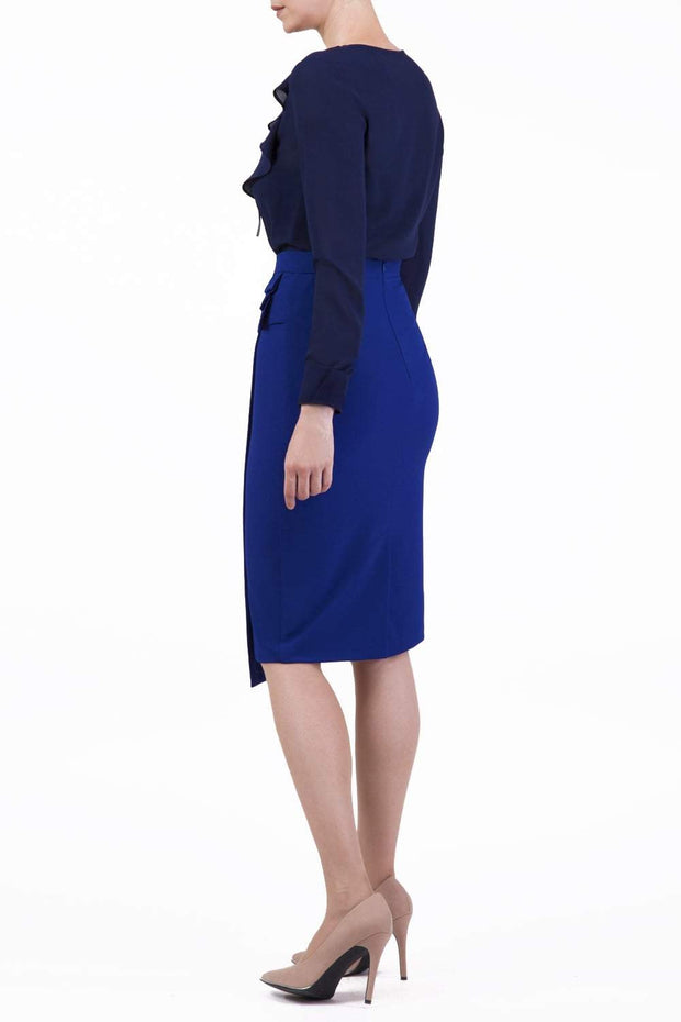 model is wearing diva catwalk antibe pencil asymmetric skirt with pleating at the front in blue front