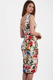 Model wearing the Diva Athens Print dress sleeveless with plunging neckline, semi square open back in eden print back image
