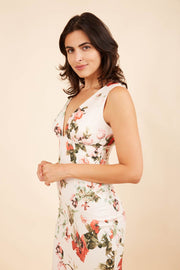 Model wearing the Diva Athens Print dress sleeveless with plunging neckline, semi square open back front image