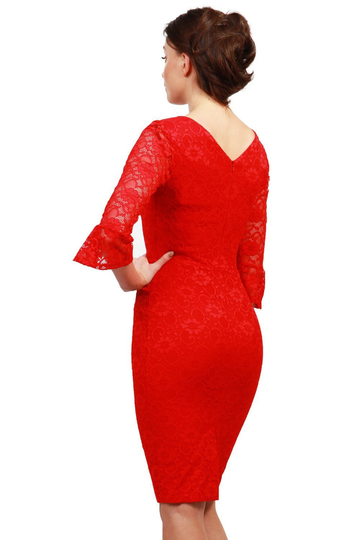 Model wearing the Diva Beatrice lace dress with round neck and pleated cuff in red lace back image