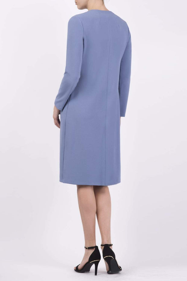 Model wearing the Diva Bliss Coat with round neckline in Stone Blue back image
