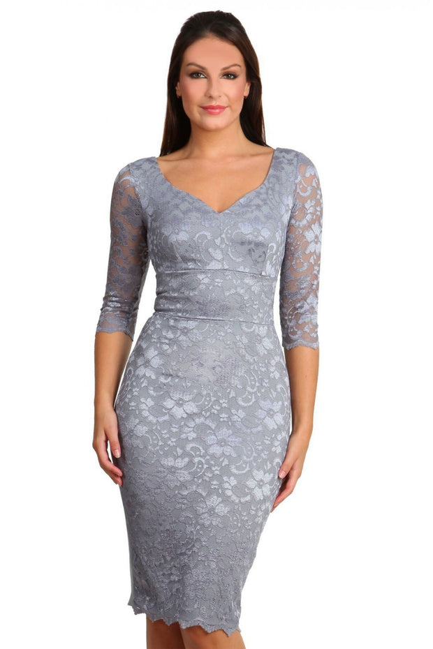 Model wearing the Diva Bucklebury Lace dress in ripple crepe and stretch lace fabric , scallop to outer layer front skirt in frost grey front image