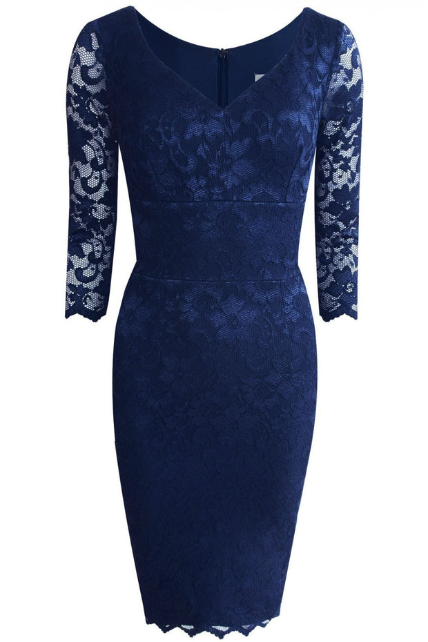 Model wearing the Diva Bucklebury Lace dress in ripple crepe and stretch lace fabric , scallop to outer layer front skirt in navy blue front image