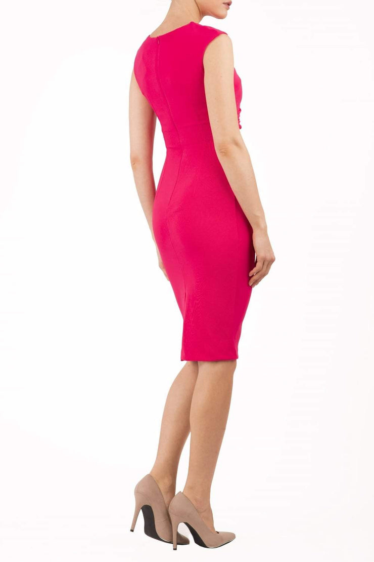 Model wearing the Diva Carla Pencil dress in ribbed super stretch fabric in paradise pink back image