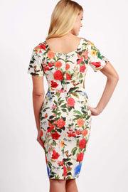 Model wearing the Diva Cindy Print dress with shoulder straps to create cold look in eden print back image