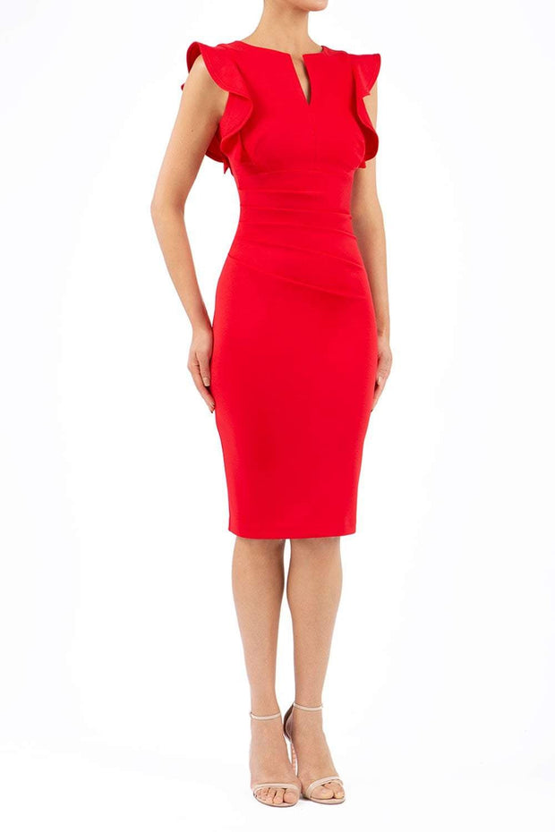 model wearing diva catwalk Bodiam Bodycon Pencil Dress with frill sleeves in knee length and pleating across the tummy in red front