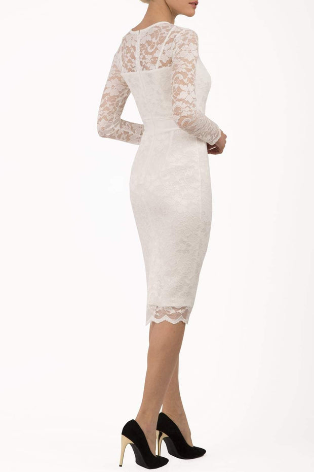 Model wearing the Diva Cherrie Lace Pencil dress with long sleeves and round neck in ivory cream back image