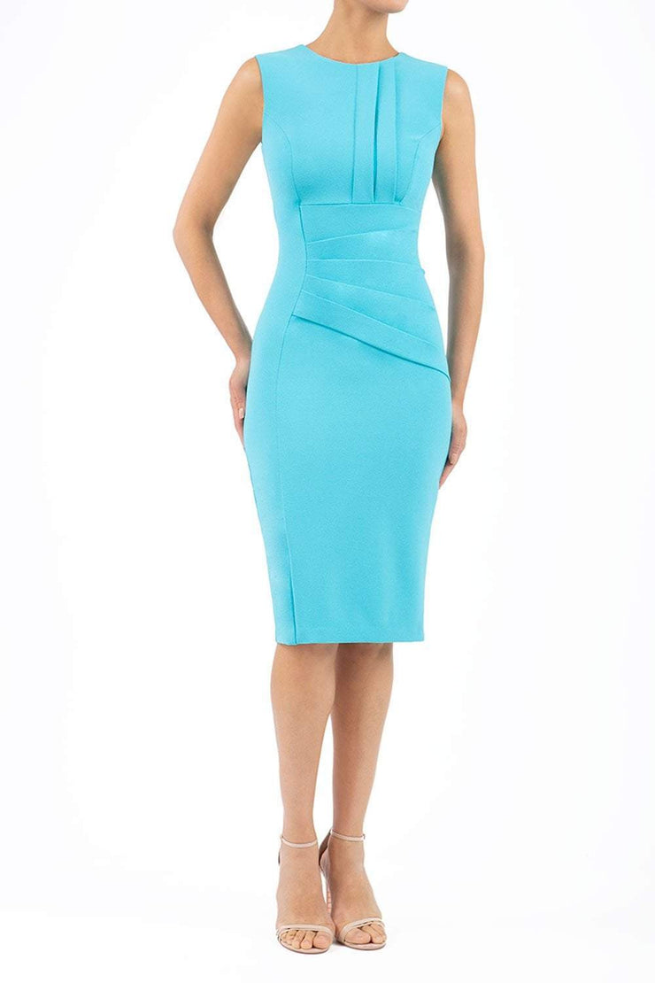 Model wearing the Diva Clara Pencil dress with vertical pleat detailing at bust sleeveless design in celeste blue front image