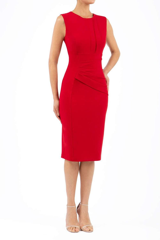 Model wearing the Diva Clara Pencil dress with vertical pleat detailing at bust sleeveless design in scarlet red front image