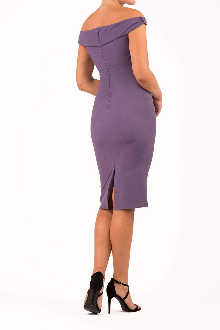 Model wearing the Diva Cloud Luxury Moss Crepe dress with cold shoulder design in dark mauve back image