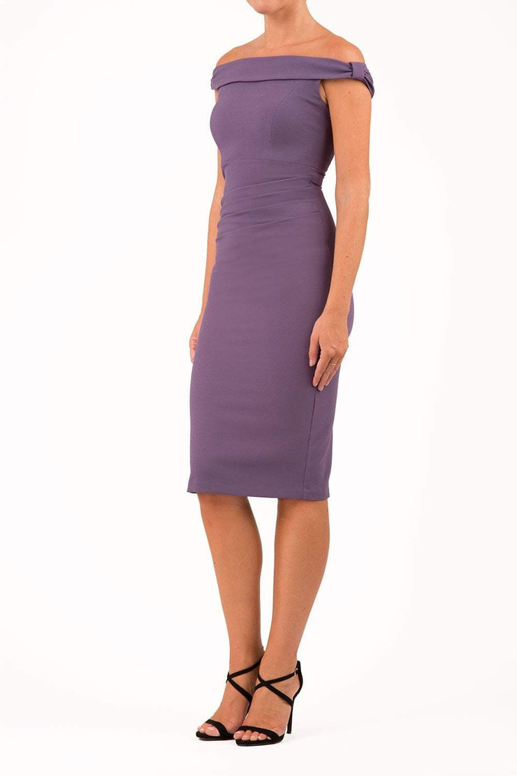 Model wearing the Diva Cloud Luxury Moss Crepe dress with cold shoulder design in dark mauve front image