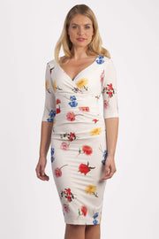 Model wearing the Diva Cynthia Floral Print dress with pleating across the front in Buttercup print front image
