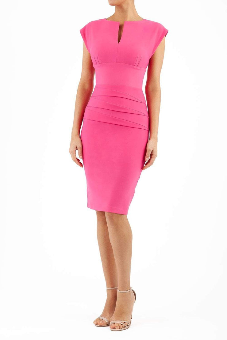 Model wearing the Diva Daphne Pencil with split neckline, sleeveless in hibiscus pink front image