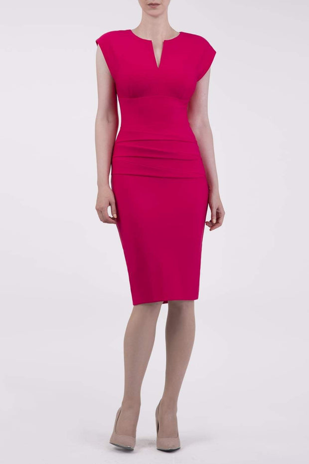 Model wearing the Diva Daphne Pencil with split neckline, sleeveless in yarrow pink front image