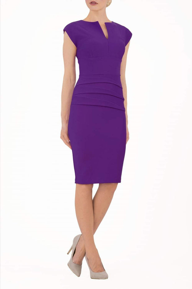 Model wearing the Diva Daphne Pencil with split neckline, sleeveless in royal purple front image