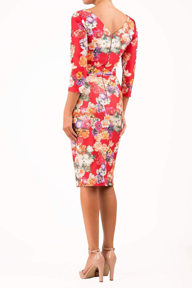 model wearing Symphony Marcella Red Summer Floral Sleeved Pencil dress in print back