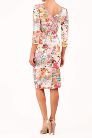 model wearing Symphony Marcella Tearose Floral Sleeved Pencil dress in print back