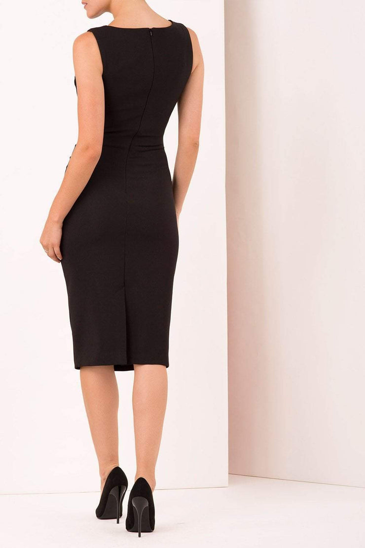 Model wearing the Diva Furlong dress in pencil dress design in black back image